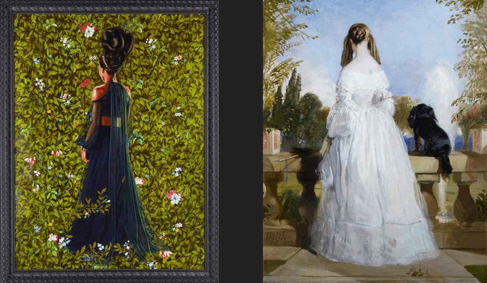 """Kehinde's """"Princess Victoire of Saxe-Coburg-Gotha"""" (2012) vs. the painting of the same name by Edwin Landseer (1839)"""