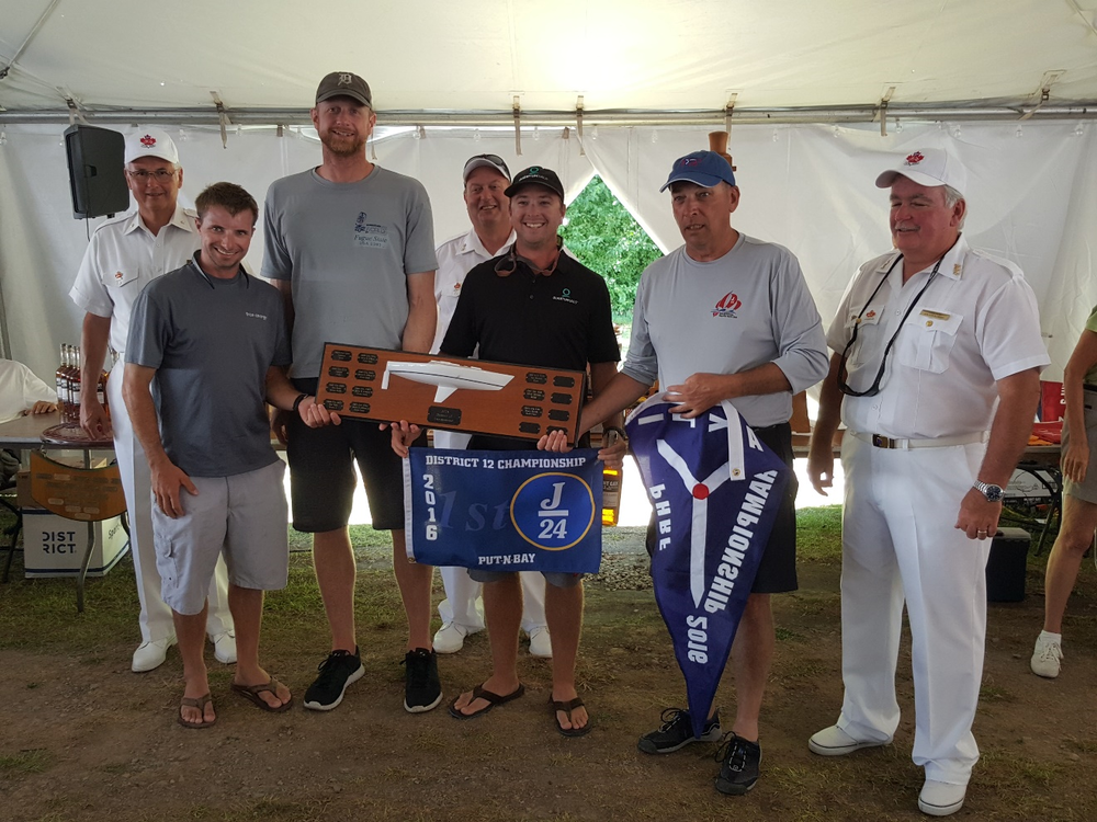 Champs: Crew of Fugue State were Nick Turney, Steve Conger, Ryan Kyle and skipper, Kevin O'Brien