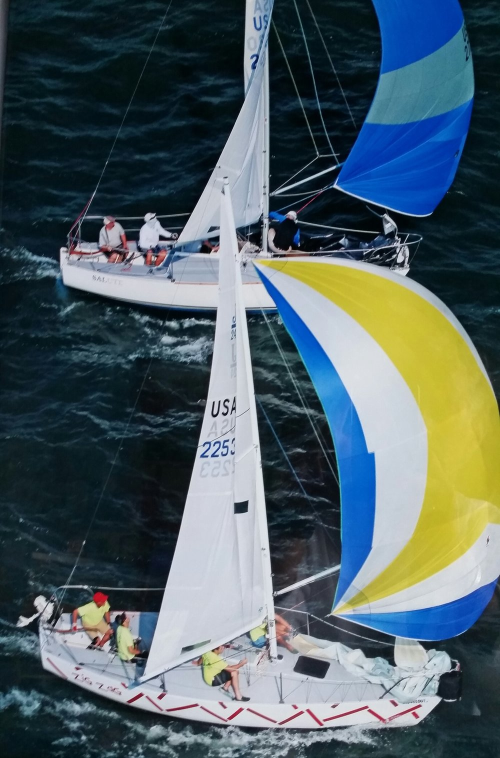 Zig ZAG (ADAM ONDREJACK) and SALUTE (MARCUS ROGERS) sailing DOWNWARD DURING THE 2016 DISTRICT 12 CHAMPIONSHIP AT PUT-IN-BAY YACHT CLUB.
