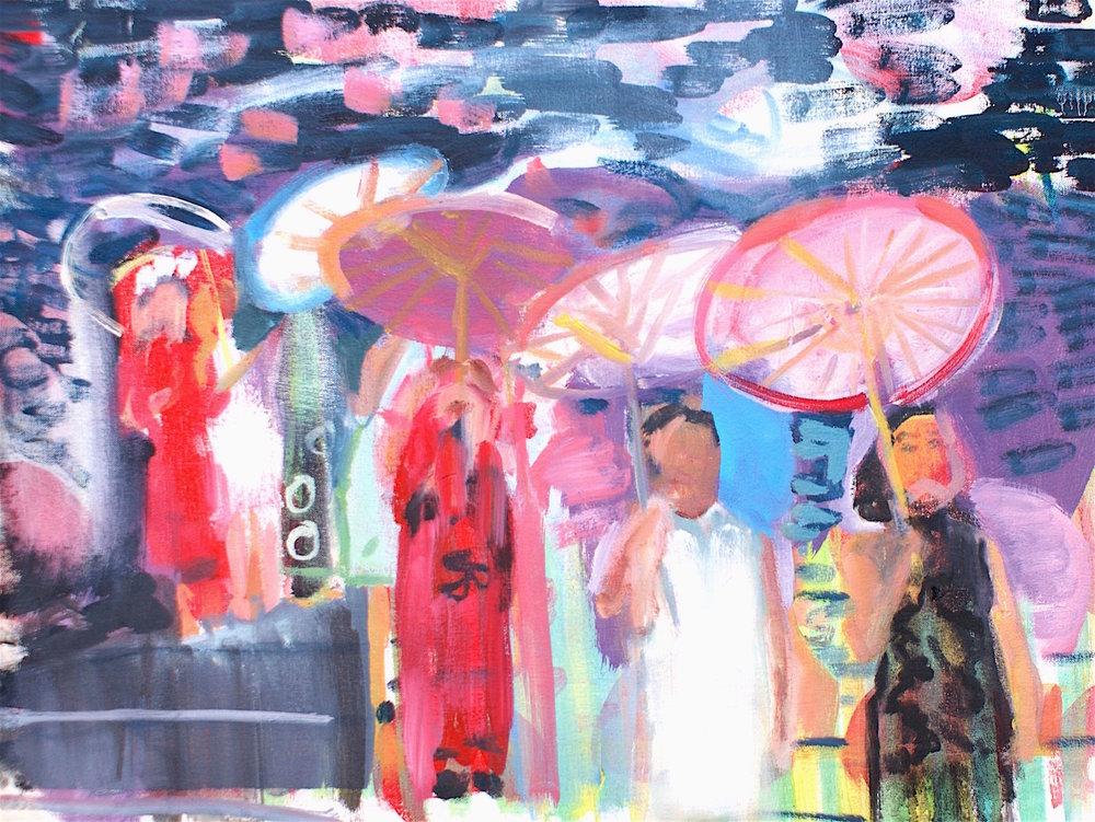 Parasol Oil On Canvas 48x 42cm