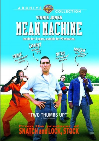 "Mean Machine is director Barry Skolnick's British spin on the 1974 Burt Reynolds hit The Longest Yard. The film sticks closely to the story line of its predecessor. The main character is a former soccer star, Danny Meehan (former soccer star Vinnie Jones), and the convicts play soccer against the guards, not American football. Matthew Vaughn, who produced Guy Ritchie's Lock, Stock, and Two Smoking Barrels and Snatch, also produced this film. After leading the cops on a drunken high-speed chase, and fighting with them, Danny, whose pro career ended when he threw a game, ends up in prison, where he finds a surprising amount of resentment among the other inmates. As a friendly old-timer, Doc (David Kelly) explains, ""You had everything they ever dreamed of, and threw it all away."" Danny meets Sykes (John Forgeham), the gangster who basically runs the prison. The Governor (David Hemmings) (or warden) asks Danny to coach the guards' soccer team. They already have a coach, head guard Burton (Ralph Brown), who warns Danny to turn the job down. Instead, Danny proposes he organize a prisoners' team to give the guards a practice game. He gets help from Massive (Vas Blackwood), a small, amiable black man who describes his name as ""ironic."" The psychotic, drooling Nitro (Stephen Walters) makes recruiting difficult by accusing Danny of being a snitch. Things turn around, however, when Danny rescues Massive from a beating by a racist guard. This wins the other prisoners over, and Monk (Jason Statham), a maniacally violent alleged cannibal, becomes the goalkeeper. After a few practices, the team is ready to play the well-trained guards in a brutally dirty match. Every actor had to pass a ""soccer audition"" before being cast in the film, and they all do their own playing in the match."