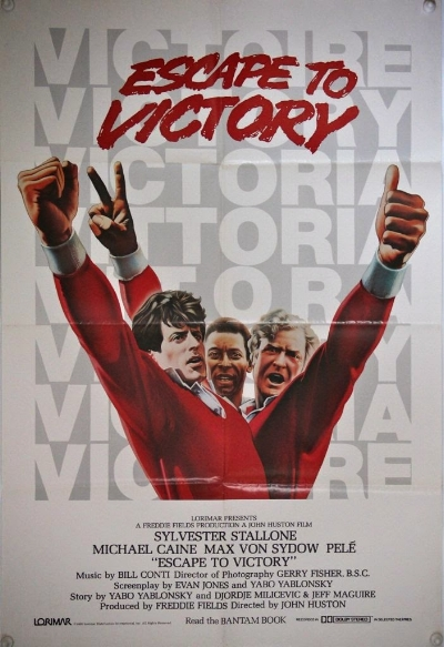 Escape to Victory, known simply as Victory in North America, is a 1981 film about Allied prisoners of war who are interned in a German prison camp during the Second World War who play an exhibition match of football against a German team.