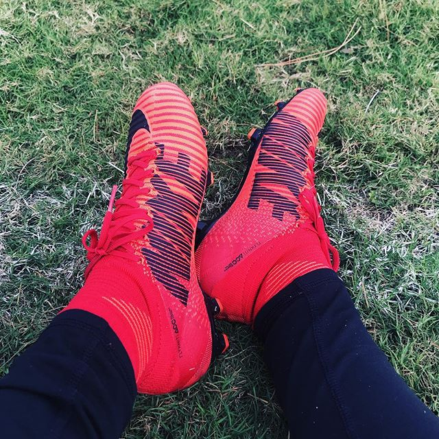 Testing out the new boots!  #Nike #Mercurial #FlyKnit #Soccer #FridayFunday #QueensCast #LetsScore