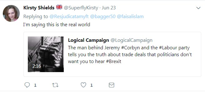 Kirsty promotes Logical Campaign by astroturfing Faisal Islam's Twitter feed.