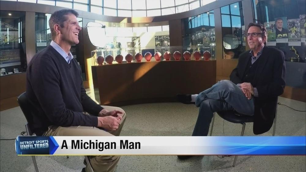 Bernie with Michigan Football Coach Jim Harbaugh