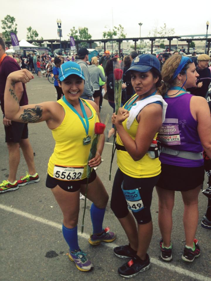 My  BFF  and I after my first half-marathon, June 2013,