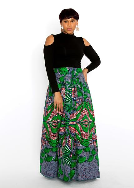 African_Print_Lulu_Pleated_Maxi_Skirt_Green_Navy_with_black_top_d7e30cac-c821-431b-8524-2e4ad7e1d20e_grande.jpg