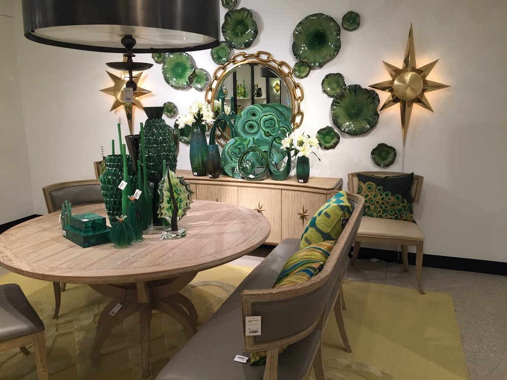 How dramatic!  Love this space using shades of green from Global Views showroom.