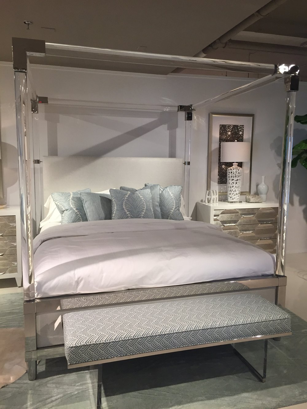 Serenity please!  This masterpiece caught my eye immediately at the Bernhardt Showroom!  The bed actually won an award at HPMKT!  Gorgeous!