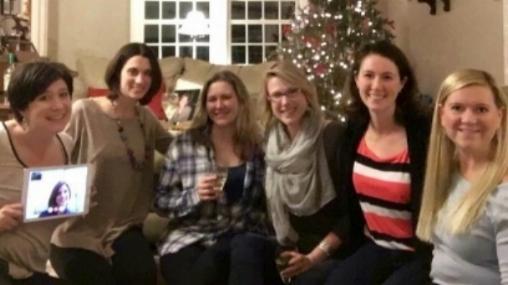 L - R: Kate (facetime), Kristin, Alison, Linda, Me, Tricia and Lauren -- January 2015