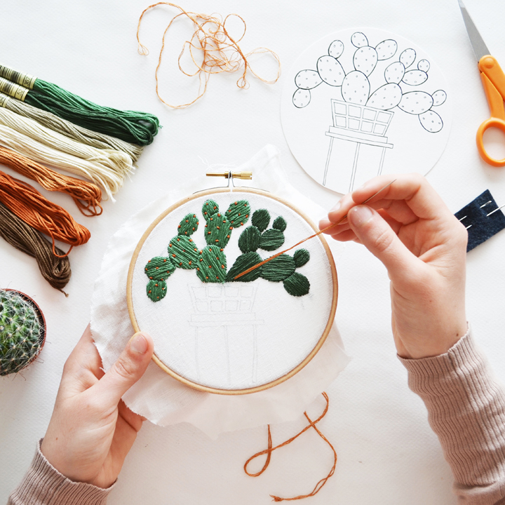 Contemporary embroidery with illustrated plants sarah