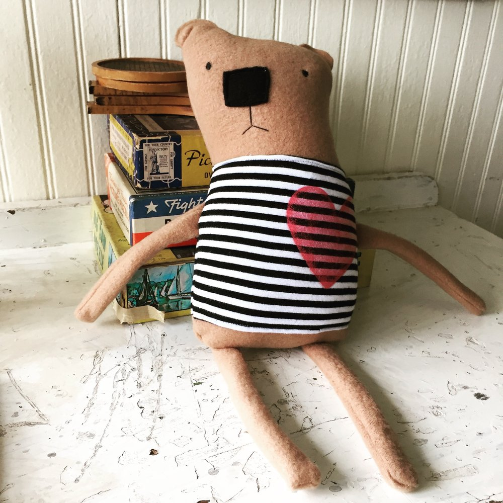 Liliana's bear from the Sewing a Softie class at the Land of Nod Makerie.jpg