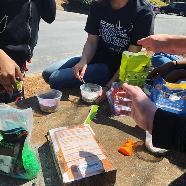 Sunny days mean science outside. (The law of superposition and principle of original horizonality make so much more sense when you test them with purple glitter sand!) #theacademy30338 #atlantahomeschool #homeschoolingmiddleschool #sunnydayscience