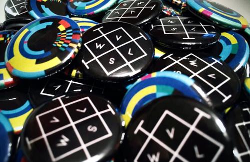 method and medium, button, merchandise, design, graphic design