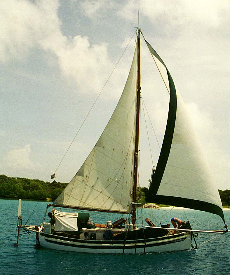Calypso, under sail off the coast of Venezuela, 1994.