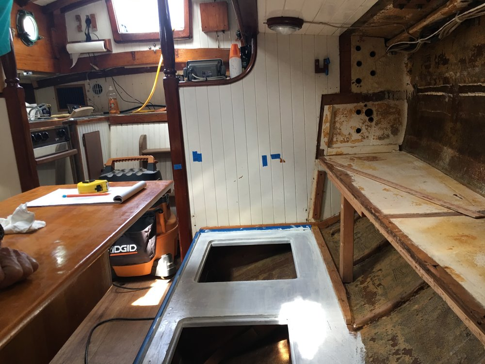 Under construction. Looking aft from the forward bulkhead.