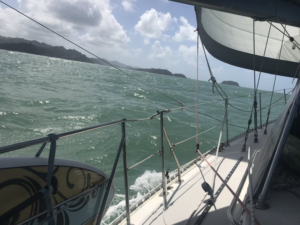 Random shot of sailing on Totem, off of Panama's coast.