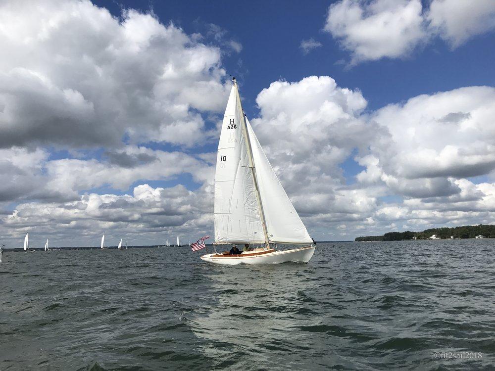 Classic monohull under sail