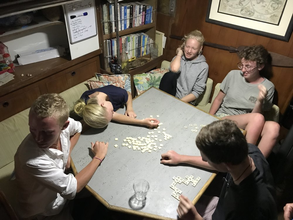 Double set of Bananagrams in action