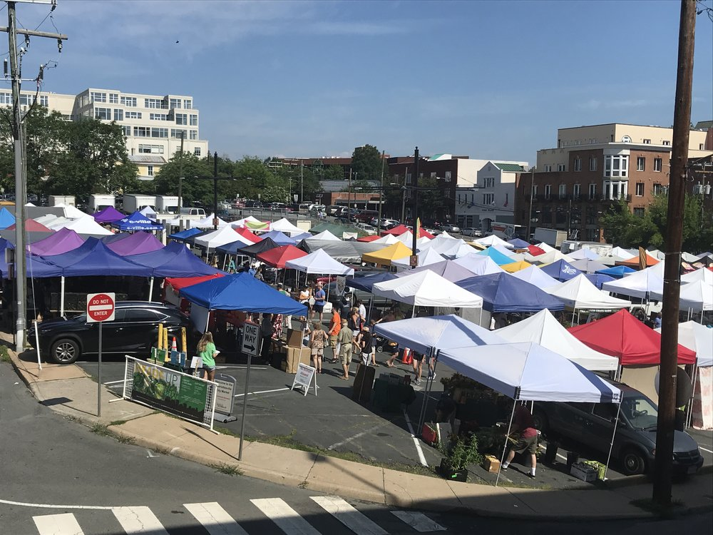 Charlottesville farmers' market from above.
