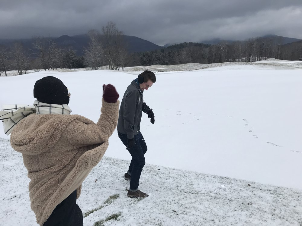 Snowball fights MUST involve laughter!