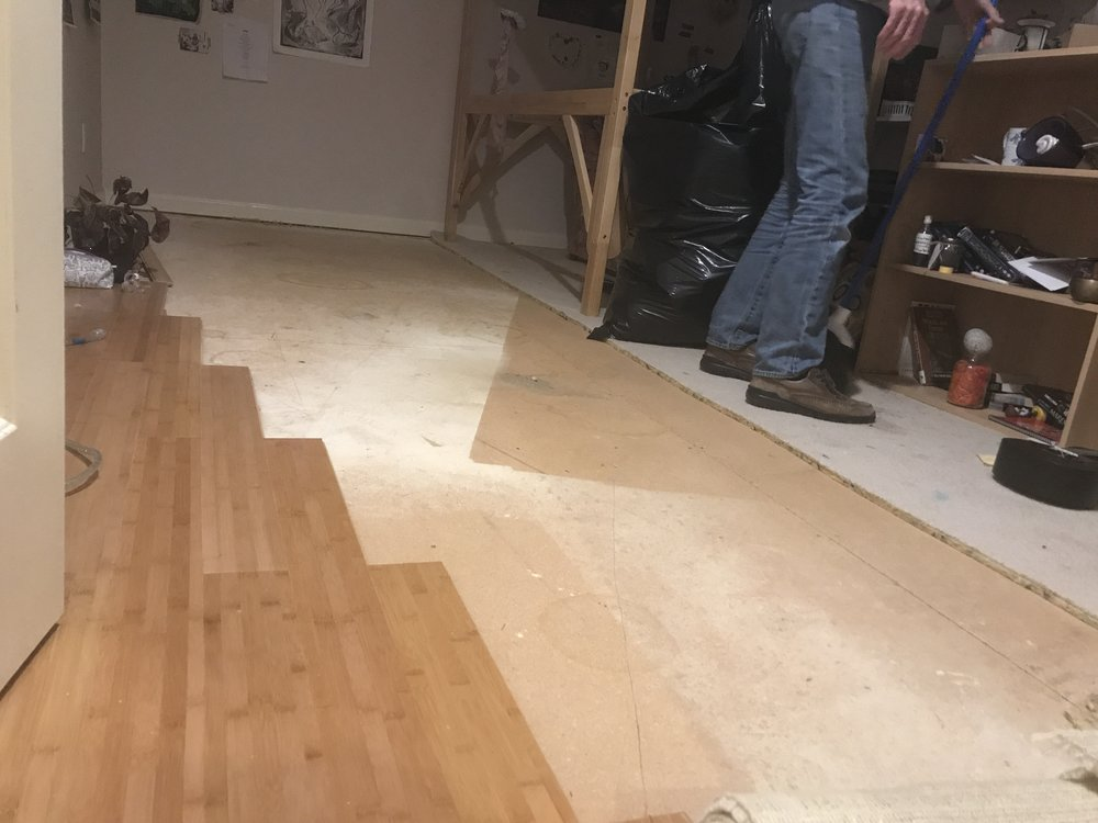 Beginning the flooring in Bee's room. Last one!