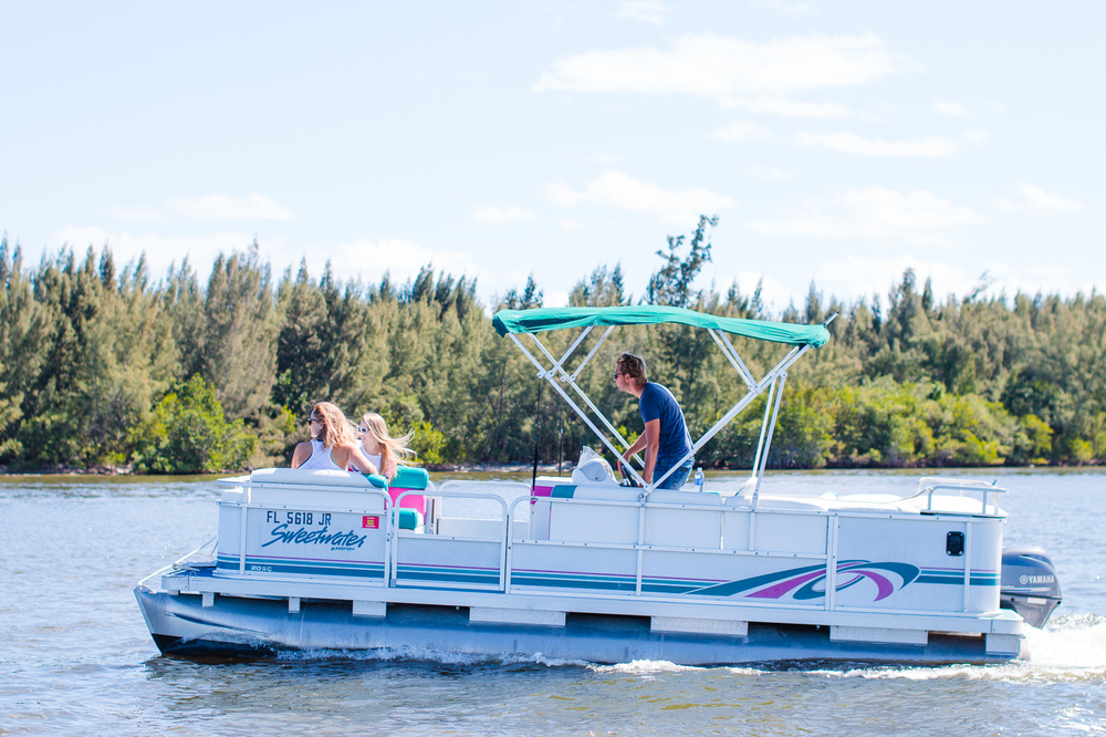 Pontoon Boats   Up to 8 guests, 20' Pontoon Boats.     Half Day Rental: $215   - Full Day   Rental: $295