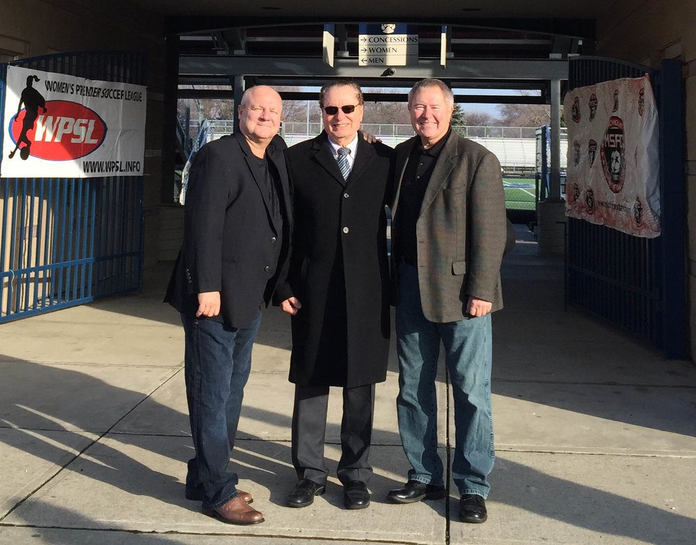 (Left to right) Morris Lubenec, Michgan Stars FC Head Coach, Ned Fawaz, CEO Michigan Sports Enterprise and Chris Corteg, General Manager.