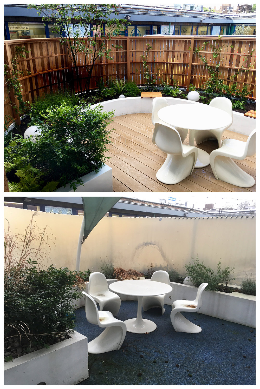 Top: The completed garden  Bottom: The garden before the works