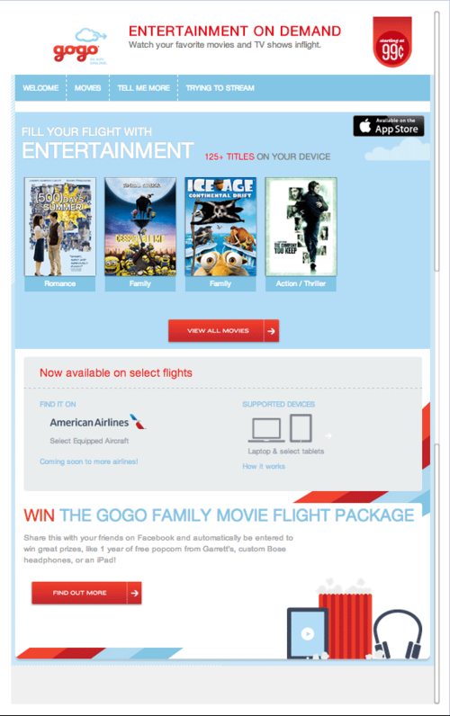 american airlines app for movies