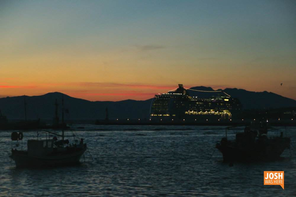 Cruise ship at sunset
