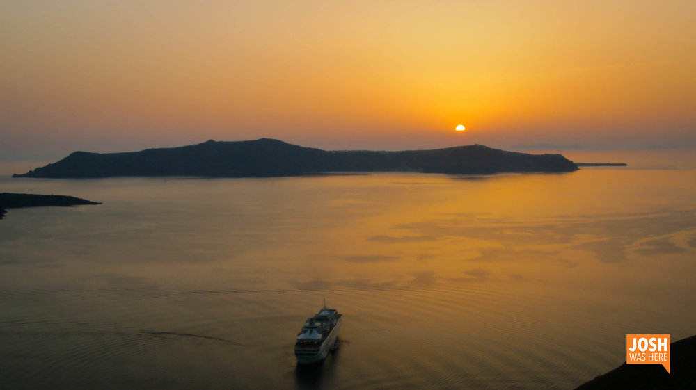 Sunset on the sea in Thira
