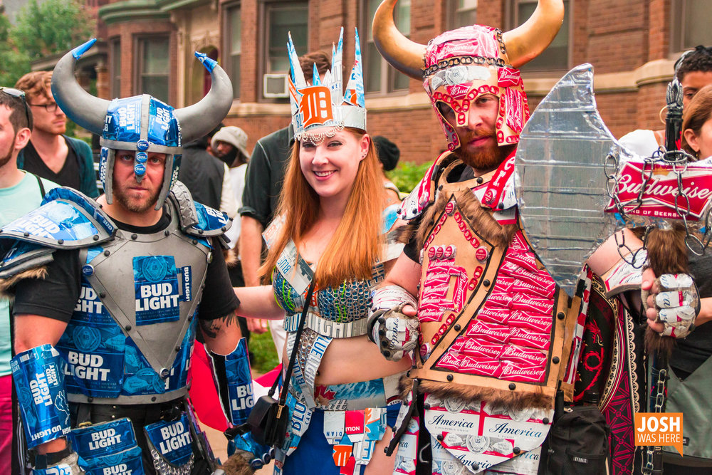 From left to right: Sir Bud the Light, Lady Libeerty, and Eric the Red attend various local festivals and conventions like Youmacon, the Renaissance Festival, and Beer Festival