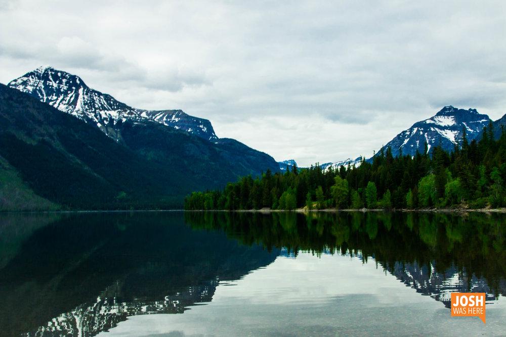 Lake McDonald from the east, Lake McDonald Lodge