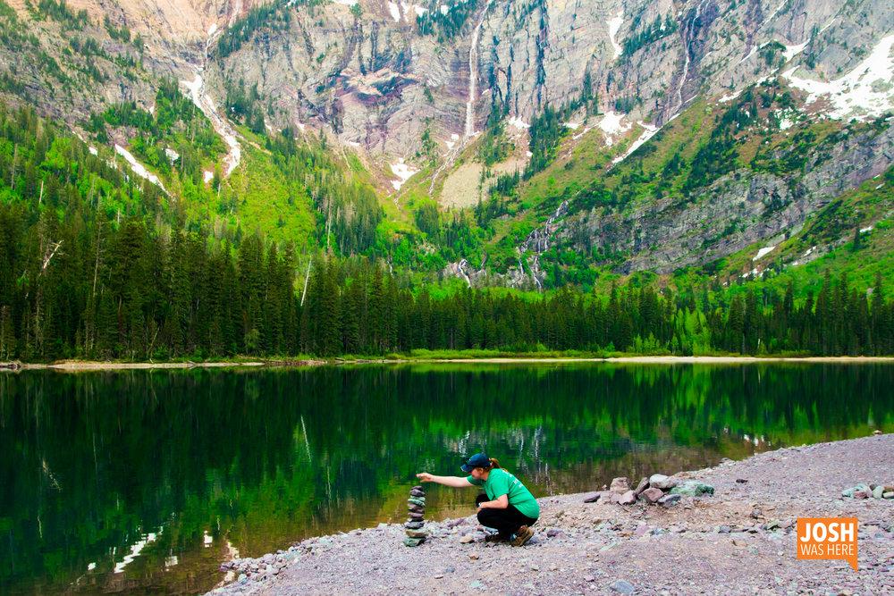 Stacking stones at Avalanche Lake