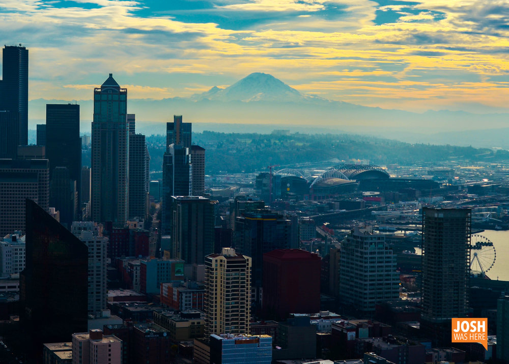 Downtown Seattle & Mt Rainier from Space Needle