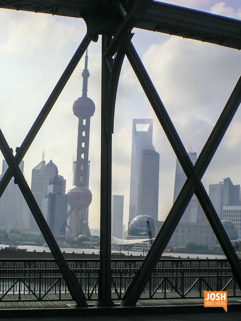 Oriental Pearl TV Tower & Shanghai World Financial Center from Waibaidu Bridge