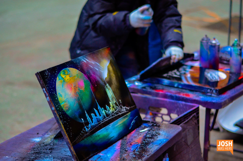 Spray paint artists in Times Square
