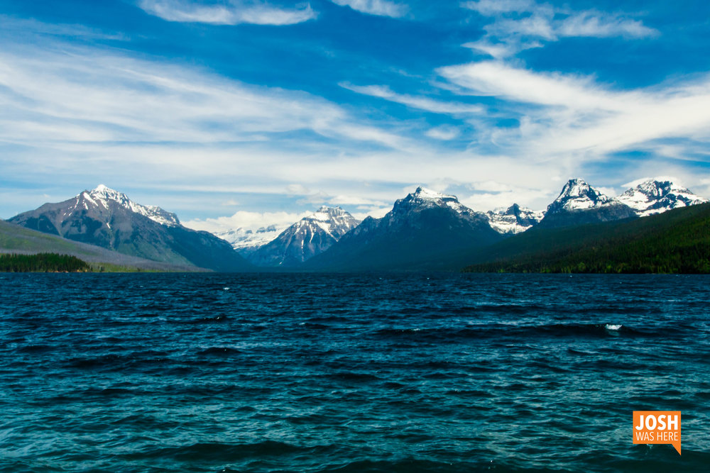 Lake McDonald from the south, Apgar Village; from left to right: Stanton Mtn, Mtn Vaught, McPartland Mtn, Garden Wall, Mt Cannon, Mt Brown, Little Matterhorn, Edwards Mtn, Gunsight Mtn.
