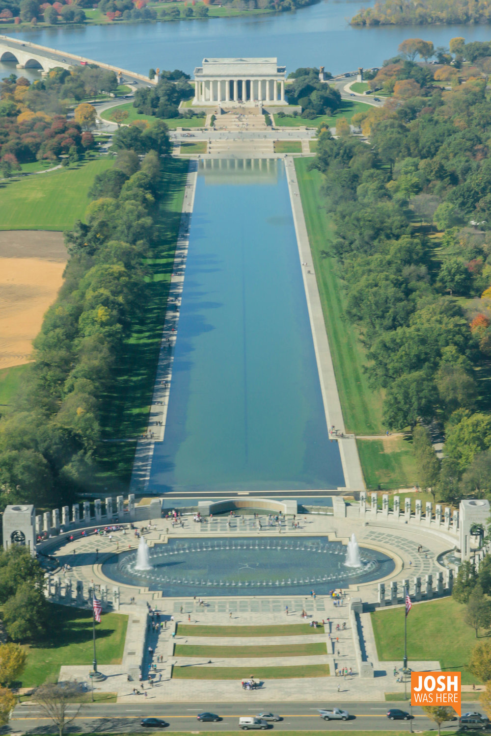 Lincoln Memorial, Reflecting Pool, & WWII Memorial from Washington Monument