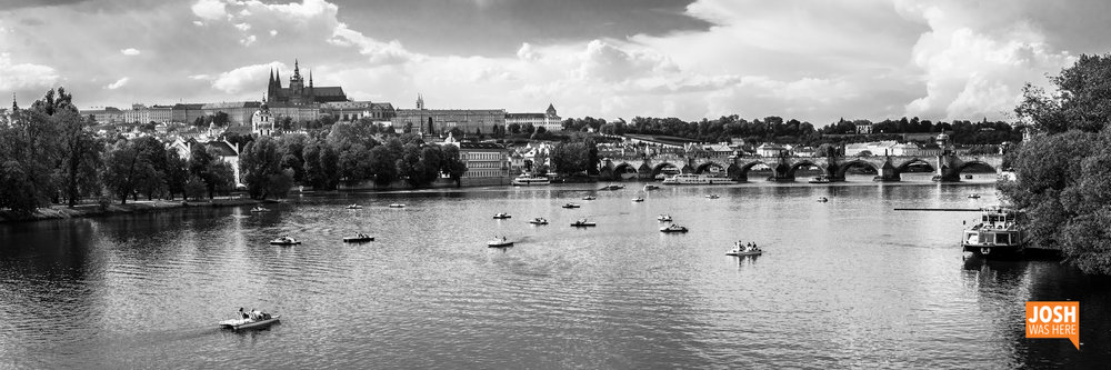 Paddle boats on the Vtlava, from Legions' Bridge / Most Legií