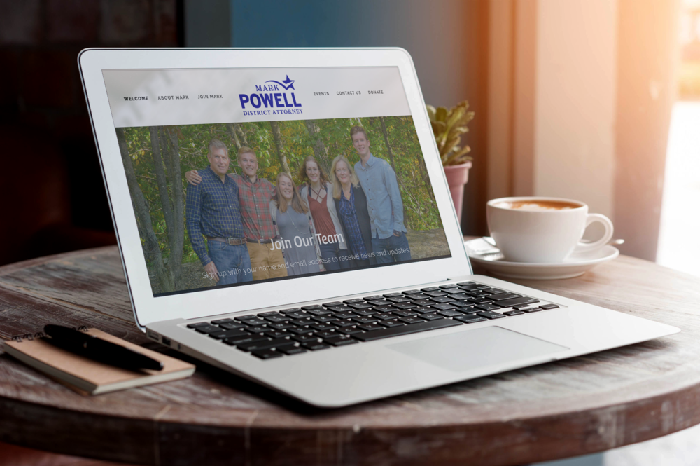 Mark Powell for DA is a website for a campaign for a District Attorney position in PA. Website features volunteer sign up functions as well as donations management.