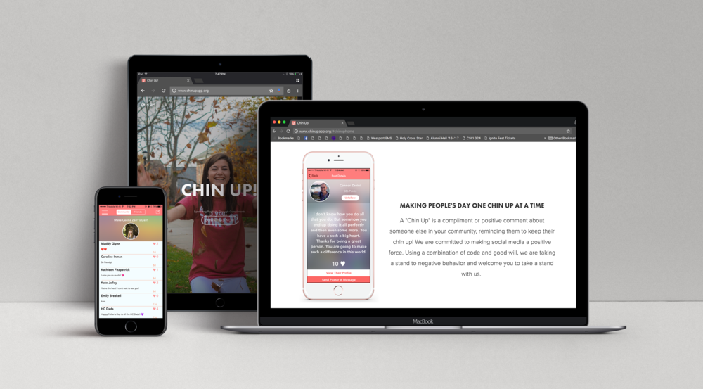 Chin Up! is a purely positive social media application. Users can sign on, select their community, and start posting anonymous compliments about one another. We have various algorithms geared towards preventing negative behaviour. Our goal is to spread positivity to hundreds of communities around the world.