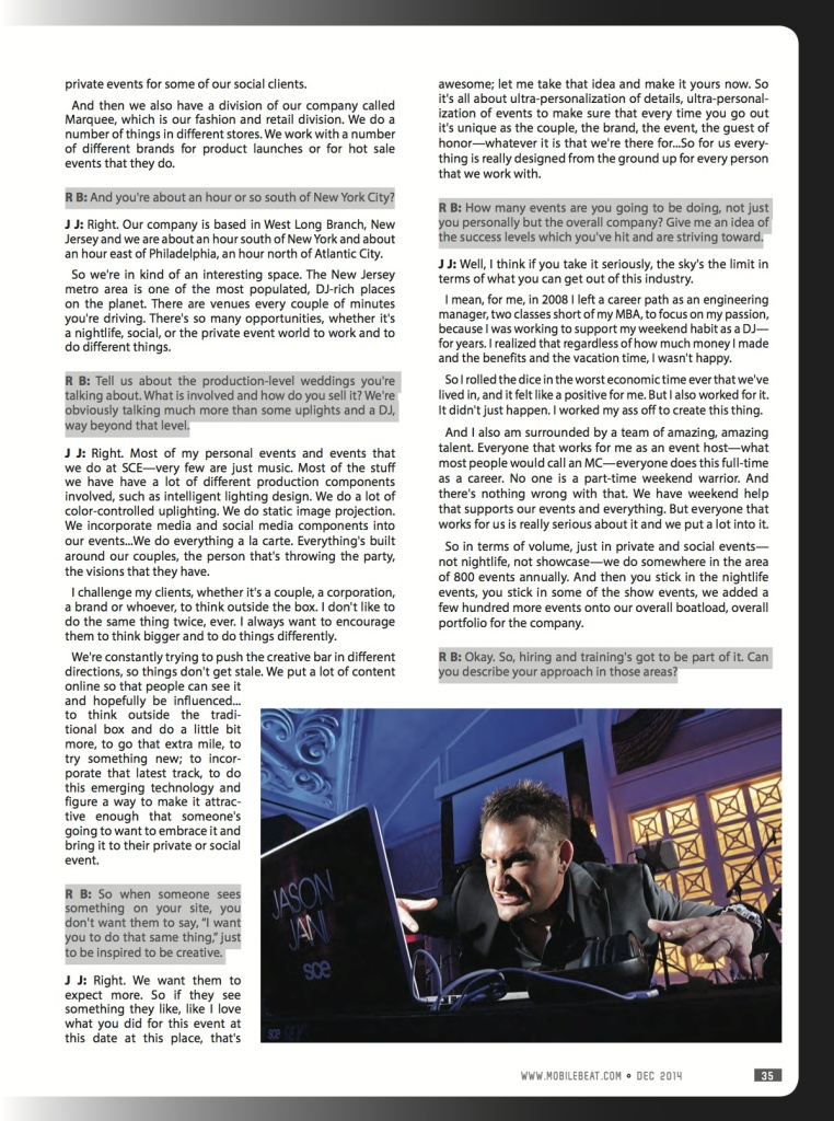 Jason Jani featured in Mobile Beat DJ Magazine
