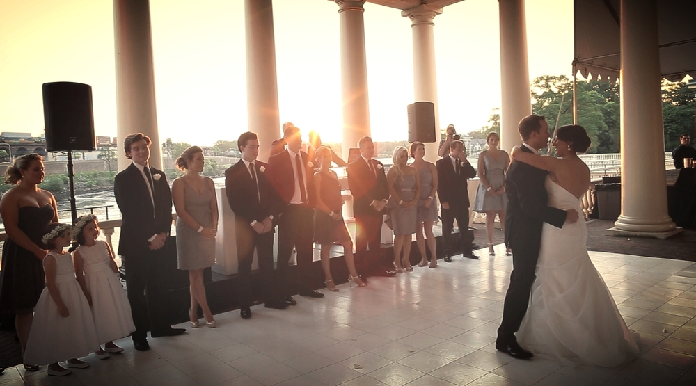 "A view of Ashley and Kyle's First dance at Water Works.  The celebrated this amazing moment to ""Someone like you"" by Van Morrison."
