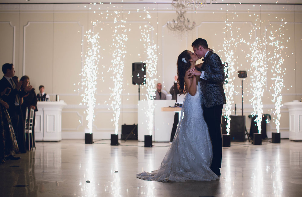 John and Vanessa celebrate at Addison Park with the SCE Event Group with a Spark fountain during their wedding first dance.