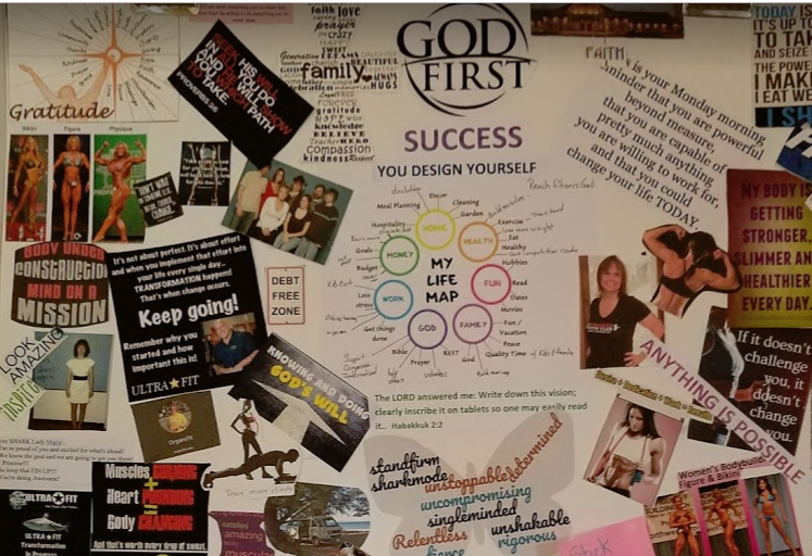 My vision board hanging in the kitchen