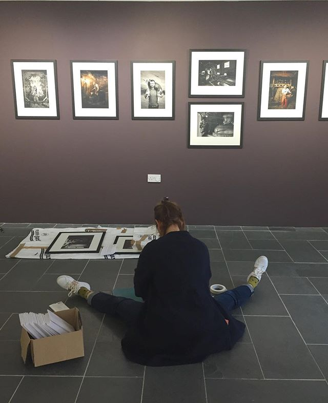 Hanging my #dartmoor #artisan photography exhibition with the ever-reassuring @floeypea. Opens Saturday @devonguildcrafts #exhibition #gallerywall #photographyexhibition #portraitphotography