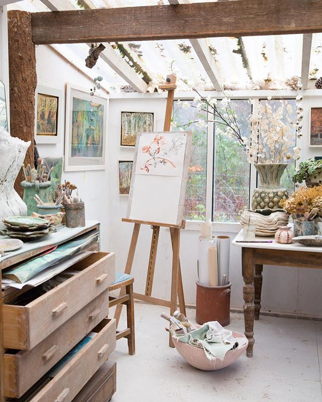 Today's setting: the beautiful studio of garden ceramicist Pauline Lee #artiststudios #devon #cermacist
