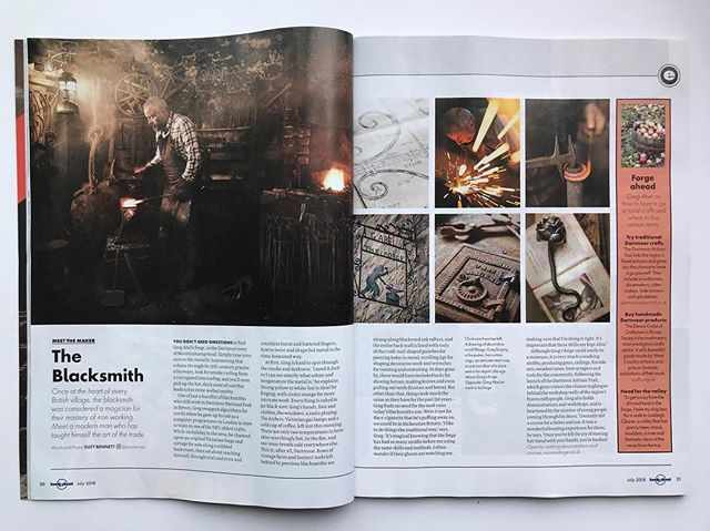 Dartmoor blacksmith and @dartmoor.artisan.trail member Greg Abel is featured in this month's Lonely Planet magazine @suzybennett.photography . #blacksmith @lonelyplanetmags